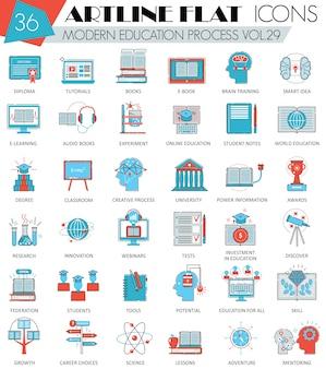 Iconos de línea plana de educación moderna en línea