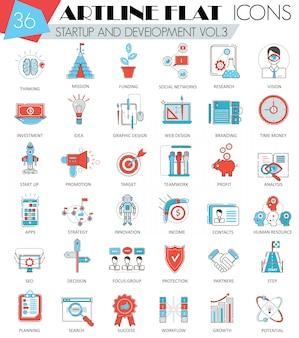 Iconos de línea plana de inicio y desarrollo