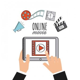 Iconos de línea plana de película en línea