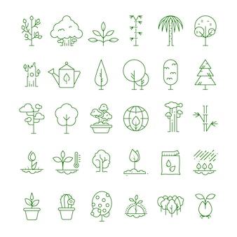 Iconos de línea de planta, plantación, semillas y árboles