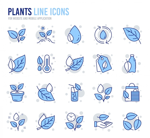 Iconos de línea de plantas. conjunto de iconos de hoja, planta creciente y termómetro de humedad.
