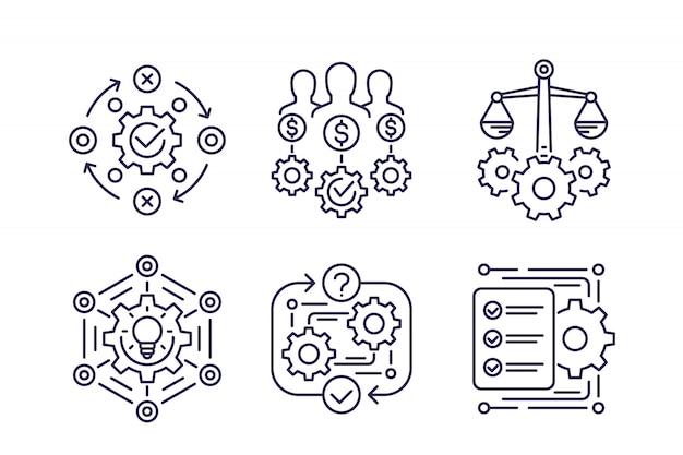 Iconos de línea de proceso empresarial, innovación y finanzas