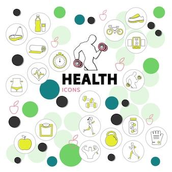 Iconos de línea de salud con equipamiento deportivo, nutrición adecuada, escalas de bicicleta, vitaminas, cronómetro en círculos