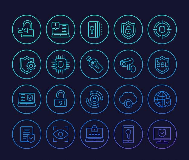 Iconos de línea de seguridad y protección, conexión segura, ciberseguridad, privacidad y datos protegidos.