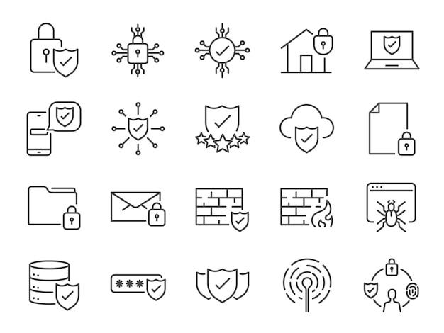 Iconos de línea de seguridad.