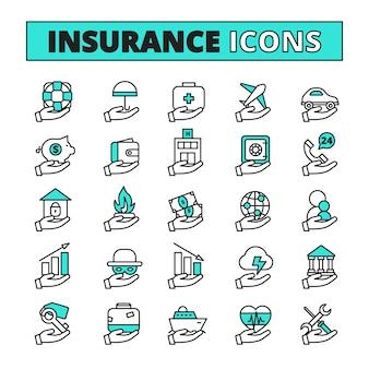 Los iconos de la línea de seguro establecidos con el transporte de la propiedad y la seguridad de vida símbolos plano aislado ilustración vectorial