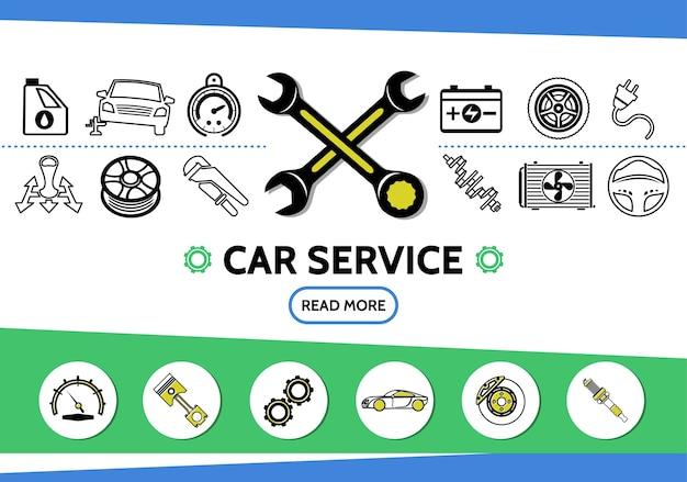 Iconos de línea de servicio de automóvil con aceite, llanta de automóvil, velocímetro, batería, llaves, radiador de transmisión