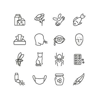 Iconos de línea de síntomas de alergia y rinitis. esquema alérgico y alérgeno vector medicina símbolos aislados