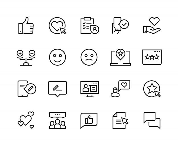Iconos de línea de testimonios. comentarios de clientes felices experiencia de servicio al cliente revisión positiva satisfacción. negocio de retroalimentación
