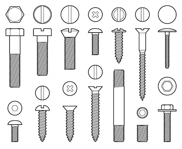 Iconos de línea de tornillos, tuercas y clavos industriales