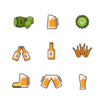 Iconos de línea de vector de cerveza aislados sobre fondo blanco