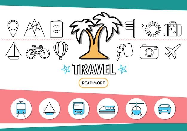 Iconos de la línea de viaje con palmera transporte navegación pin montañas pasaporte letrero sol