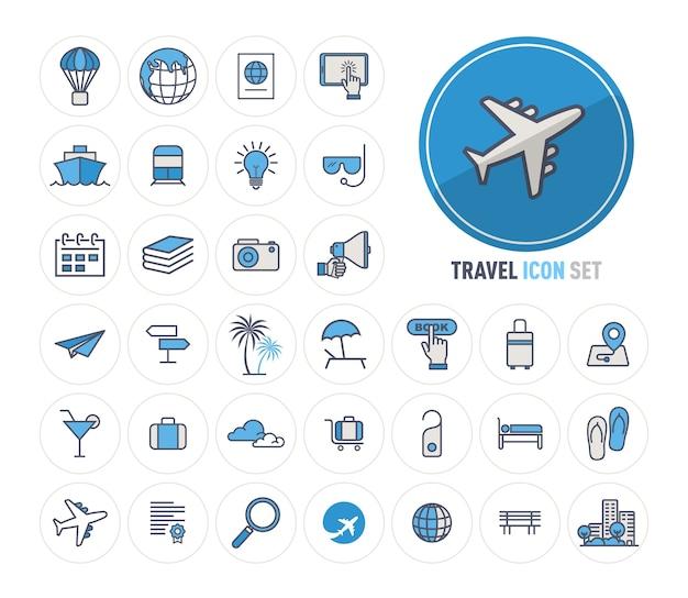 Los iconos de la línea de viaje y turismo establecen diseño plano