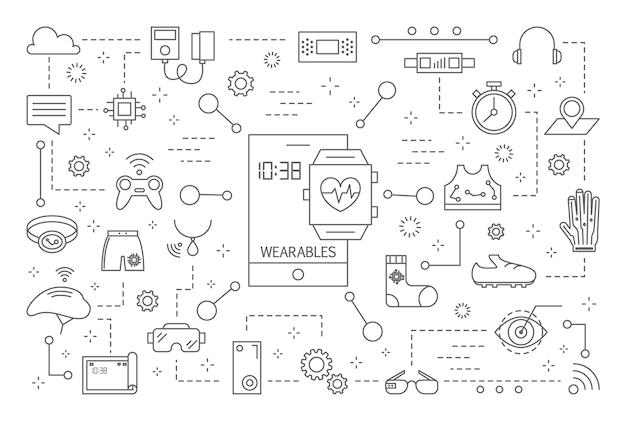Iconos de la línea de wearables en fondo blanco.