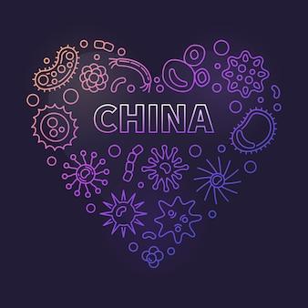Iconos lineales del concepto de corazón de china y virus