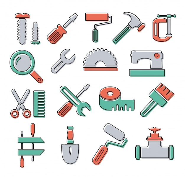 Iconos lineales con herramientas de construcción y reparación de objetos.
