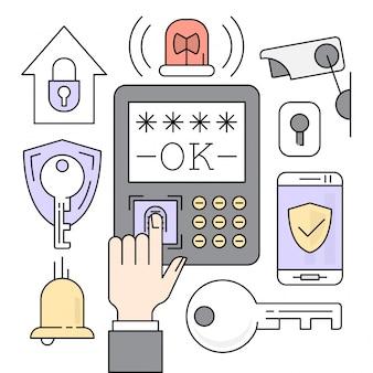 Iconos lineares de seguridad