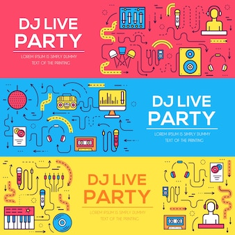 Iconos de líneas finas del personal de dj de discoteca. tecnología musical y accesorios objetos colección de elementos.