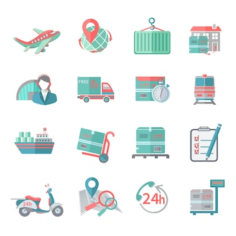Iconos logísticos establecidos planos
