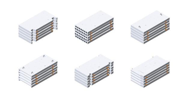 Iconos de losa de hormigón en vista isométrica. pilas de paneles de cemento. concepto de almacenamiento de materiales de construcción.