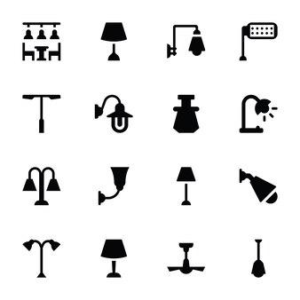 Iconos de luces interiores y exteriores