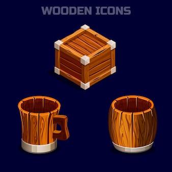 Iconos de madera de dibujos isométricos para juego.