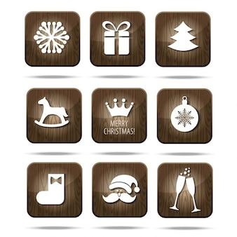 Iconos de madera de navidad