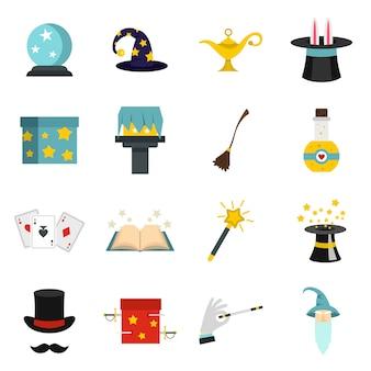 Iconos mágicos establecidos en estilo plano