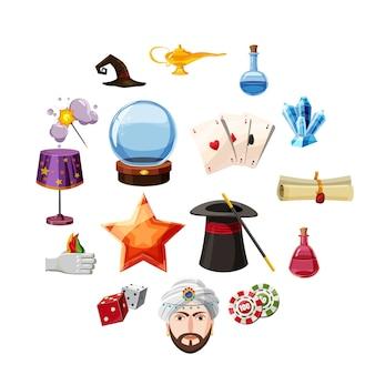 Iconos de mago set artículos, estilo de dibujos animados