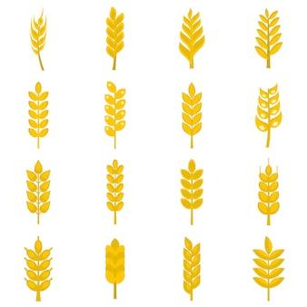 Iconos de maíz de oreja en estilo plano