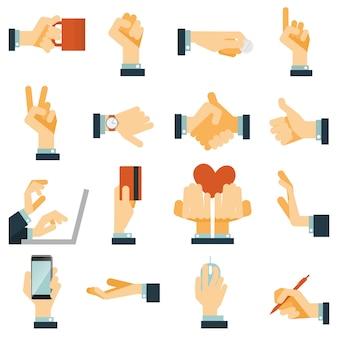 Iconos de mano conjunto plano