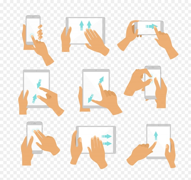 Iconos de la mano de la ilustración que muestran gestos multitáctiles comunes para tabletas con pantalla táctil o teléfonos inteligentes, los dedos mueven flechas de color azul que muestran la dirección del movimiento, fondo transparente