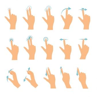 Iconos de mano que muestran gestos multitáctiles de uso común para tabletas con pantalla táctil o teléfonos inteligentes. concepto de negocio moderno de diseño plano.