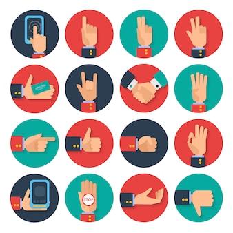 Iconos de manos conjunto plano