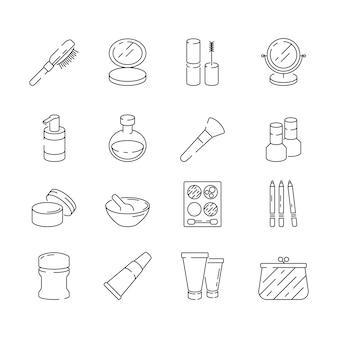 Iconos de maquillaje mujer belleza cosméticos loción crema gel uñas lápiz labial vector línea delgada símbolos