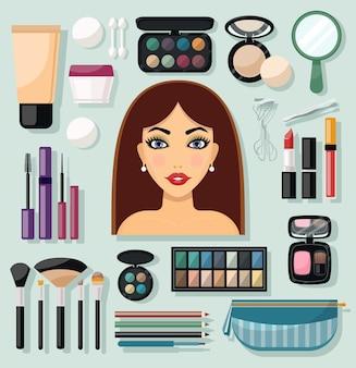 Iconos de maquillaje planos