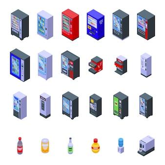 Los iconos de la máquina de bebidas establecen vector isométrico. agua plástica