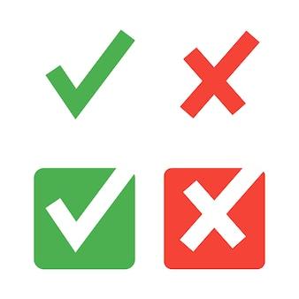 Iconos de marca de verificación plana