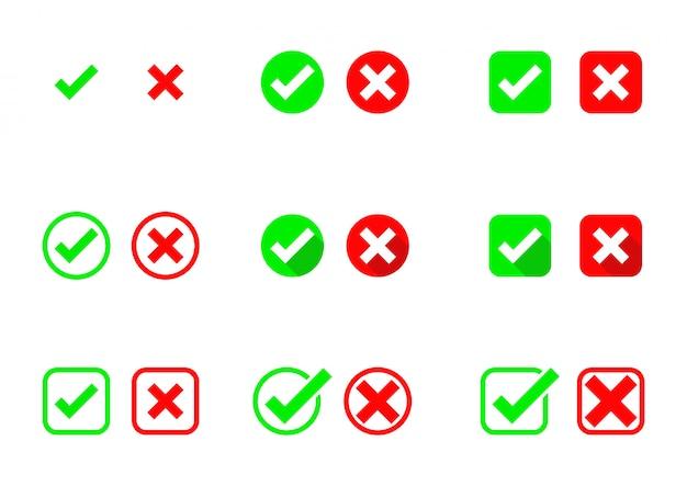 Iconos de marcas de verificación. aceptar y rechazar correcto e incorrecto. aislado sobre fondo blanco