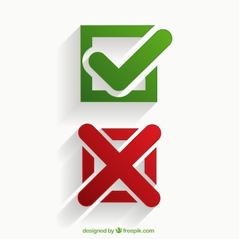 Iconos de marcas de verificación