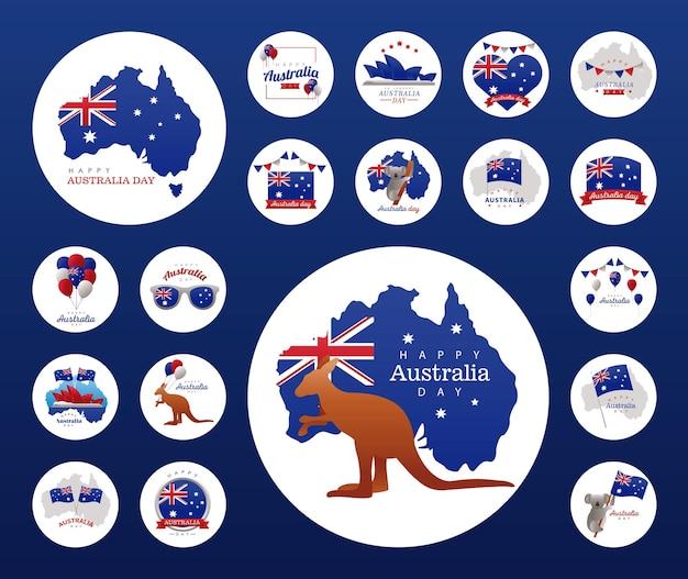 Iconos en marcos circulares del feliz día de australia