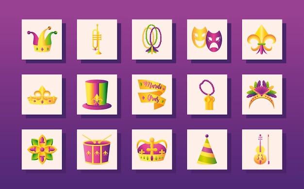Los iconos de mardi gras fijaron el carnaval de la música de la trompeta de los granos del sombrero del joker festivo en la ilustración del vector del fondo púrpura