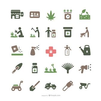 Iconos de marihuana medicinal y jardinería