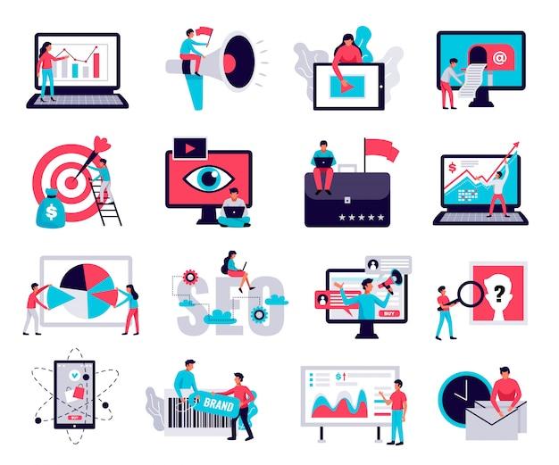 Iconos de marketing digital con símbolos de negocios en línea planos aislados