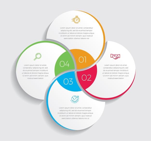 Iconos de marketing y diseño infográfico. concepto de negocio con 4 opciones, pasos o procesos.