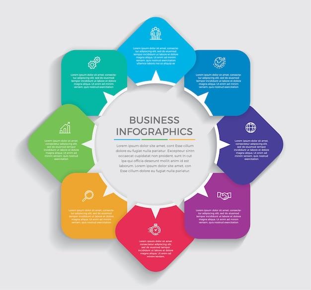 Iconos de marketing y diseño infográfico. concepto de negocio con 8 opciones, pasos o procesos.