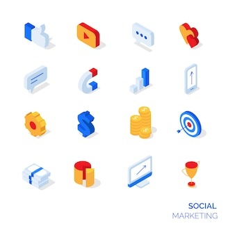 Iconos de marketing social isométrico
