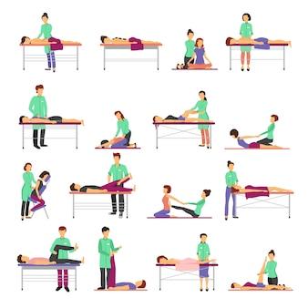 Los iconos del masaje fijaron con el ejemplo aislado plano del vector de los símbolos de la atención sanitaria