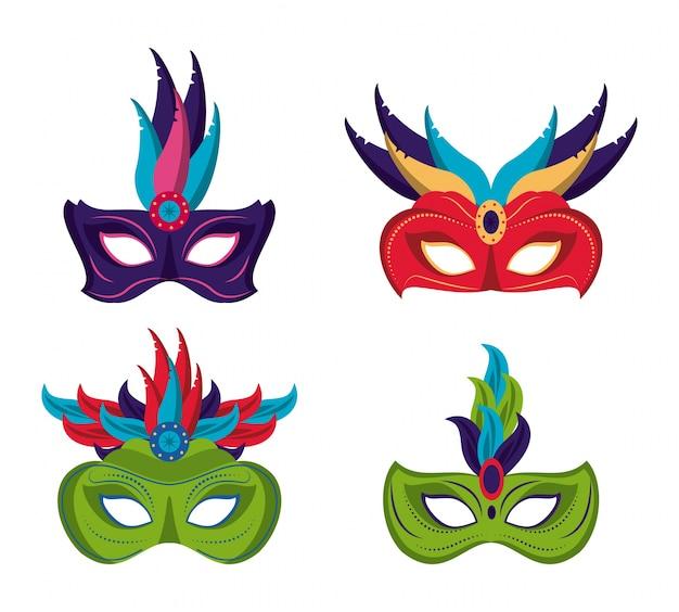 Iconos de máscaras de mardi gras