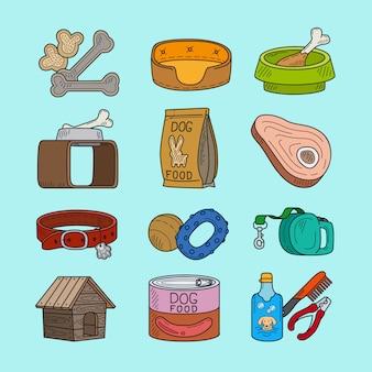 Iconos de mascotas perro doodle